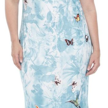 Plus Size Jasmine Maxi Dress Hawaiian Tea Length Sleeves