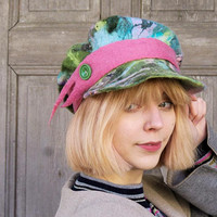 Unique nuno felted cap, Newsboy cap, spring colors hat, unusual wool cap, spring woman fashion, designers Avant Garde wearable art, OOAK