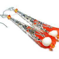 Long Dangle Earrings Hyacinth Orange Trumpet Flowers with Ivory Swarvoski Crystal Pearls Handmade Fashion Jewelry Bohemian Style 2.75 Inch