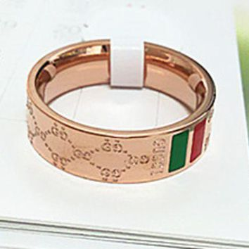 VONEYW7 gucci titanium steel plated rose gold high end quality diamond shaped red green ring