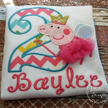 Fairy Princess Peppa Pig Birthday Custom Tee Shirt - Customizable -  Infant to Youth