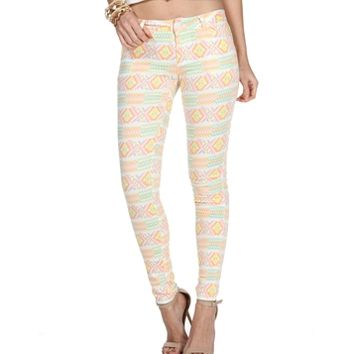 Cream/Multi Color Neon Skinny Jeans