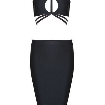 Honey Couture JOELLE Black on Black Cut Out Bandage Crop Top & Bandage Pencil Slit Skirt Set