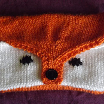 Knitted Pocket Purse - Animal Coin Purse - Knitted Clutch - Knitted Fox or Wolf Coin Purse