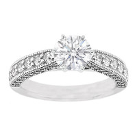 Engagement Ring - Vintage Cathedral Style Round Diamond Pave Engagement Ring 0.38 tcw. In 14K White Gold - ES474