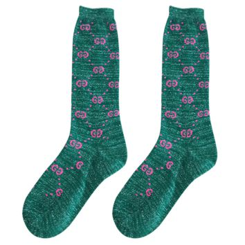 GUCCI autumn and winter in the tube school wind wild double knit pile piles socks Green