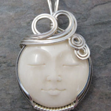 Carved Full Moon Face Cameo Cow Bone Bali Sterling Silver Wire Wrapped Pendant
