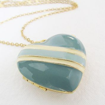 Vintage Heart Locket, Large Heart Necklace, Large Heart Locket, Turquoise Locket Necklace, Heart Locket Pendant, Turquoise Jewelry