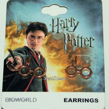 Licensed cool Harry Potter Glasses Scar Earrings post insertion earrings gold tone ONE Pair