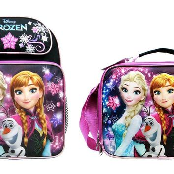 "Disney Frozen Girls 14"" Canvas Black School Backpack Plus Insulated Lunch Bag"