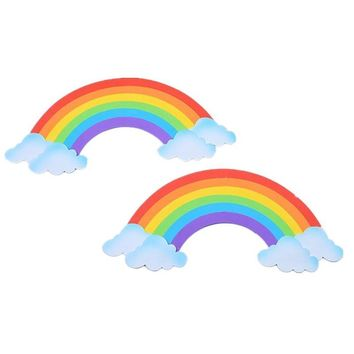 2Pcs/Set 3D Sponge Rainbow Wall Sticker For Kids Room DIY Window Sticker Background Decals Home Bedroom Nursery Decor