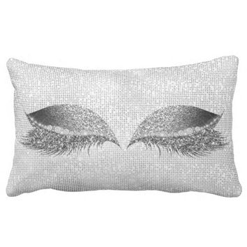 Silver Sequin Glitter Black Grey Makeup Lashes Lumbar Pillow