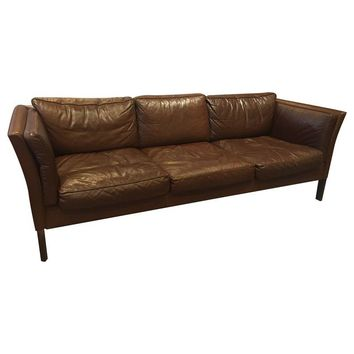 Pre Owned Mid Century Modern Danish Leather Sofas   A Pair