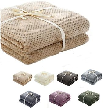 CAMMITEVER High Quality 7 Colors Solid Fleece Flannel Throws Blanket For Beds Throw For Baby Adult Fitted Sheet Mattress Cover