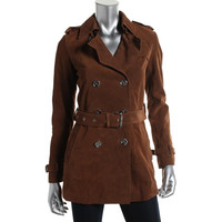 Michael Kors Womens Leather Double-Breated Pea Coat