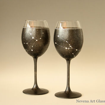 Taurus and Virgo Constellation on Wine Glasses, CUSTOM ORDER, Hand Painted, Swarovski Crystals Stars