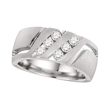 14kt White Gold Men's Round Diamond Double Two Row Wedding Matte Band Ring 1/2 Cttw - FREE Shipping (US/CAN)