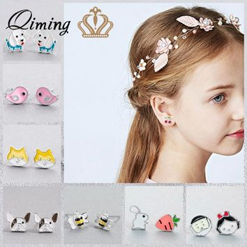 Korean Cute Stud Kids Earrings For Girls Minimal Cat Bulldog Bee Rabbit Charms Baby Children Jewelry Women Earrings Gift