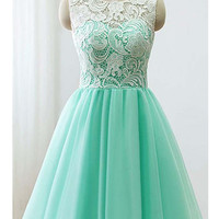Custom Made A Line Round Neck Short Green/Yellow/Blue Lace Prom Dress, Short Lace Bridesmaid Dress, Homecoming Dress