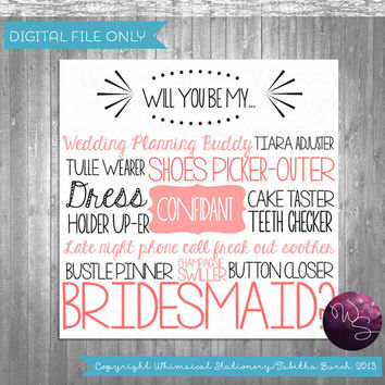 Shop ask bridesmaid to be in wedding on wanelo bridesmaid proposal cards cake tasting printable file only spiritdancerdesigns Gallery