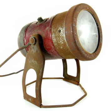 Vintage Flashlight Lantern / Mid Century Red Torch with Stand and Handle / Industrial Home Decor / Steampunk