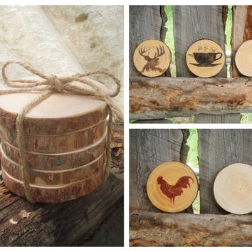 Wood Coasters Rustic Wood Coasters Reclaimed Wood Coasters Tree Slices Montana Made Rustic Wedding Rustic Home Cabin Lodge Decor ~ Set of 5