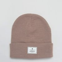 ASOS Patch Beanie In Dusky Pink at asos.com