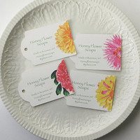 Flower Gift Tags, Product Tags, Custom or Personalized Wedding Favor tags, Pink and Yellow Peony, Dahlia