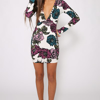 Motel - Meli Bodycon Dress - Museum Floral Midnight