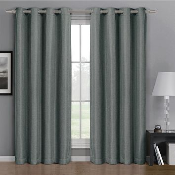 Grey 52x63 Gulfport Faux Linen Blackout Weave Grommet Window Curtain Panels