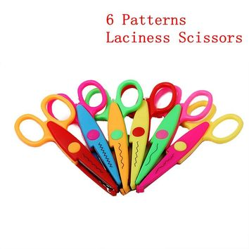 6 Patterns Laciness Scissors Metal And Plastic DIY Scrapbooking Photo Decoration Paper Lace Scissors