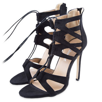 Women Sexy Shoes High Heels Stiletto Cut Outs Lace Up Open Toe Runway Party Shoes Women Sandals Gladiator Black Pumps Zapatos