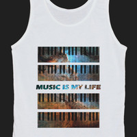 Music is My Life Piano Keyboard Galaxy Space Universe Tank Top Women Tops White Tee Shirt Tank Tops Size XS, S, M, L