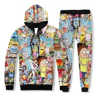 2 Piece Set Men Casual Tracksuits 3D Print Rick and Morty Fashion Hoodies Hooded+Pants Sweatshirt Track Suit S-XXL
