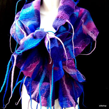 Felted Scarf Ruffled Wavy Multicolor Cobalt Blue Sky Blue Pink Purple With Tassels Boho Style