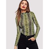 Mock-neck Snakeskin Fitted Top