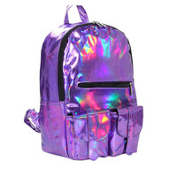Women backpack 2016 Mochila backpack Women Silver Hologram Laser Backpack men's Bag leather Holographic travel bag Multicolor