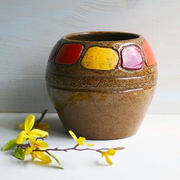 Handmade Vase - Carved Dream Vase Natural Earthy Ceramic Multi Purpose Vessel