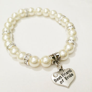 Best friend of bride bracelet / Pearl Wedding Jewelry / best friend of bride gift / Sister in law gift / Bestie Bracelet / BFF Jewelry