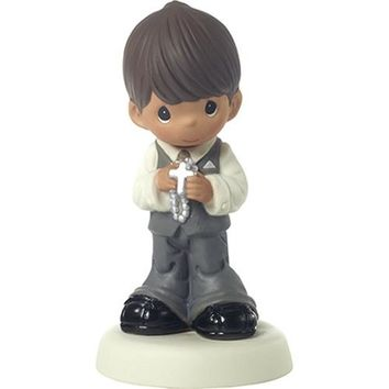 Precious Moments May His Light Shine In Your Heart Today And Always Bisque Porcelain Figurine, Boy, Brunette