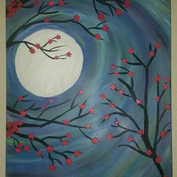 Hand painted wood framed canvas - Night Blossoms