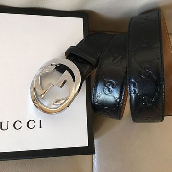 New Authentic Gucci GUCCISSIMA Black GG Buckle Belt Size 110cm 38-40 Waist