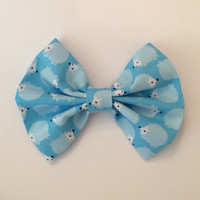 Hedgehog Hair Bow, Blue Hedgehog Fabric Hair Bow
