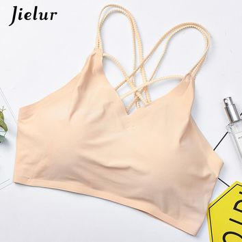 Jielur Solid Color Women Tube Tops White Black Skin Ladies Crop Tops Seamless Bandeau Top Criss Cross Bra Band Lingerie Dropship