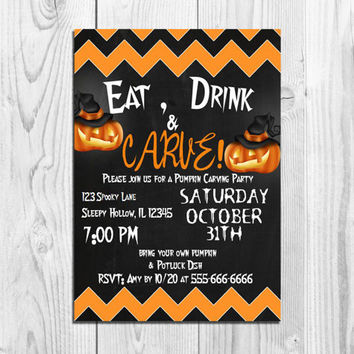 Halloween Invitation Eat Drink Carve PUMPKIN CARVING Party Invitation Printable Harvest Invite customized Template Black Orange MS Word Doc