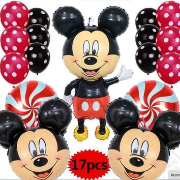 17pcs/lot Minnie&Mickey mouse combination latex foil balloons wedding happy birthday party supplies kids toys theme party decor