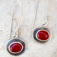 Red stone earrings, Sterling silver earrings, Dangle earrings, Bezel set earrings, Gemstone earrings, Handmade, Artisan, Silversmith