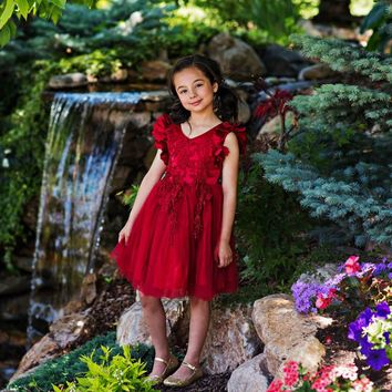 Ariana Ruby Red Petal Sleeve Satin & Lace Dress
