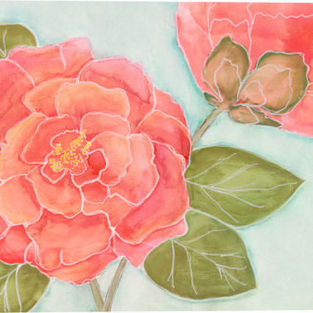 Camellia in Tangerine I Floral Canvas Wall Art Print