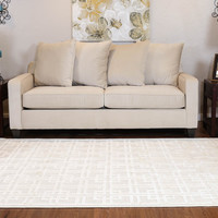 Designers White Natural Linen Collection Area Rug (6' X 9')